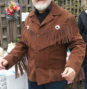MEN'S LEATHER BUCKSKIN FRINGE JACKET