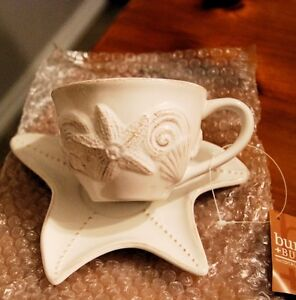 Ornamental Cup and Saucer / Seashell Design