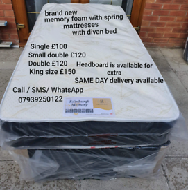 NEW MEMORY FOAM WITH SPRING MATTRESS WITH DIVAN BEDS