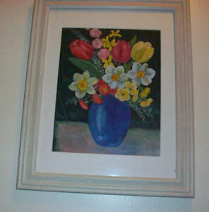 Framed Vase with flowers oil painting on silk Cambridge Kitchener Area image 2