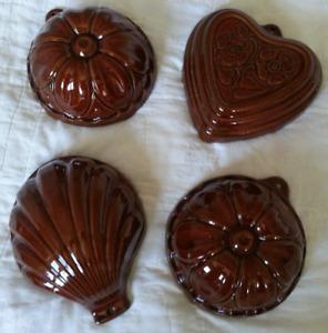4 - Vintage Earthenware Pastry / Bundt Cake, Molds