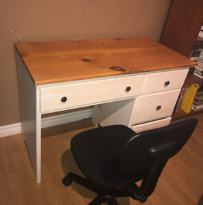 Child's wooden desk and chair combo