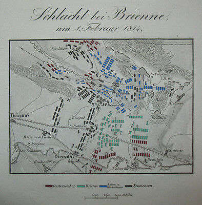 1840 Brienne-le-Chateau Napoleon Befreiungskriege Kolorierter Kupferstich-Plan