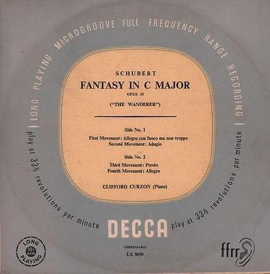 "Schubert(10"" Vinyl)Fantasy In C Major Clifford Curzon-Decca-LX 3059-UK--VG/VG"