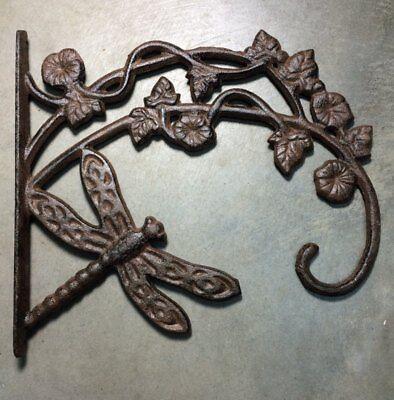 Dragonfly Plant Hanger, brown bronze finish, cast iron, pot hook
