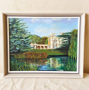 856: Original Oil Painting Of A Mansion By A Lake