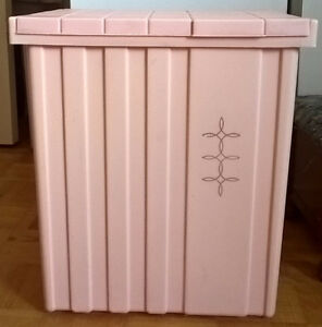 Vintage Festival Pink Plastic Baby Laundry Hamper with Lid