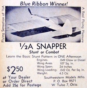 Vintage-SNAPPER-Early-Days-1-2A-UC-Stunt-Model-Airplane-Kit-PLANS-in-Two-Sizes