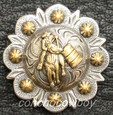 Set of 6 WESTERN SADDLE GOLD BARREL RACER BERRY CONCHOS 1-1/4