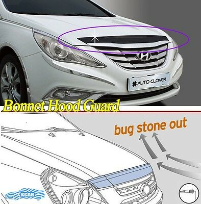 Acrylic Bonnet Hood Guard Protector Deflector Black for Hyundai SONATA 2010~2013