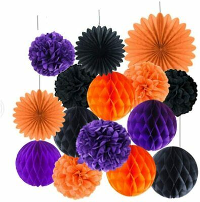 15 PCS Halloween Decorations Hanging Pom Poms Honeycomb Balls Garland