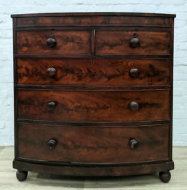 Victorian Mahogany Bow Fronted Chest Of Drawers (DELIVERY AVAILABLE)