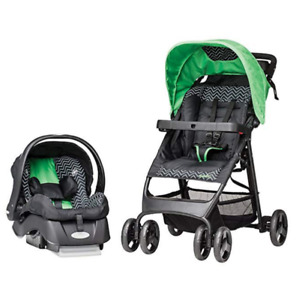 Evenflo Flex Lite Travel System W/Embrace, Chevron, green