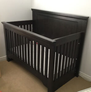 Solid wood Canadian made crib and matching dresser in charcoal