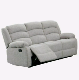 3&2 Seater Light Grey Sorrento Fabric Recliners
