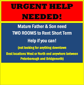 Urgent! In need of help. Father /son need to rent TWO ROOMS!