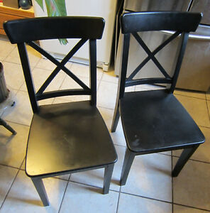 2 IKEA CHAIRS -- SOLID WOOD -- Black!!