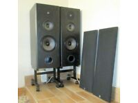 Wharfdale speakers in Black Ash. C Class 519. with wheeled stands.