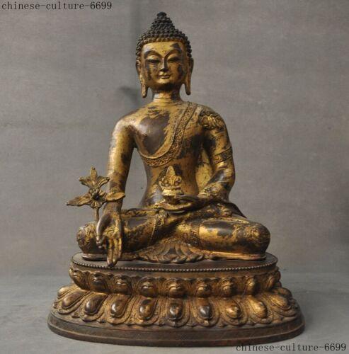 Tibet Buddhism bronze gilt Amitayus Sakyamuni Tathagata Medicine Buddha statue
