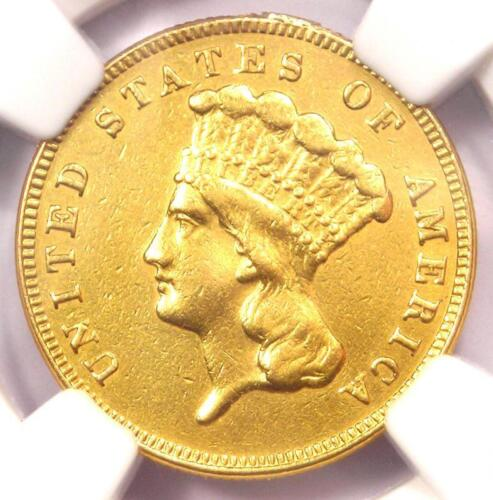 1885 Three Dollar Indian Gold Coin $3 - Certified NGC AU Details - Rare Date!