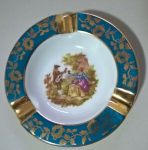 Vintage LIMOGES France Porcelain Courting Couple Ashtray