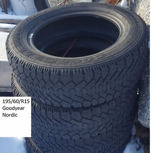 Set of 4 195/60/15 GoodYear Nordic Winter Tires