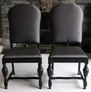 Pair of Reupholstered Antique Dining Chairs