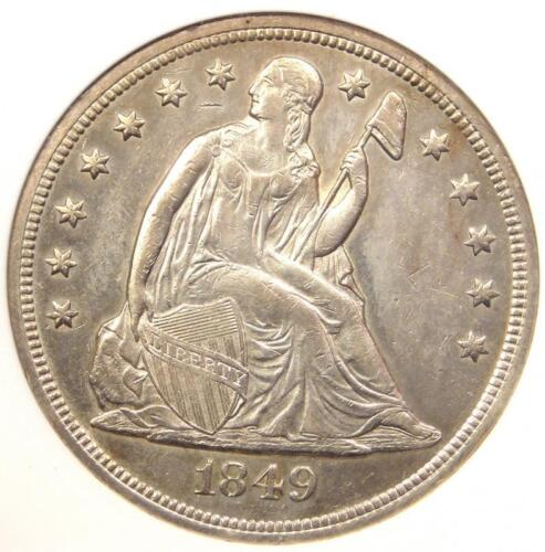 1849 Seated Liberty Silver Dollar $1 Coin - ANACS Uncirculated Detail (UNC MS)!