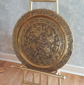 "Antique Middle East HAMMERED BRASS Ornate 23"" TRAY / WALL DECOR"