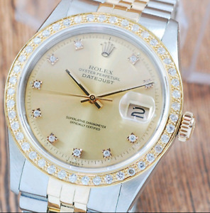 Rolex Men's DateJust Diamond & 18K Gold Watch Diamond Bezel...