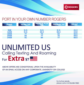 Limited Offers V.Cheap Plans ( 8,12,18,30&24 GB ) ROGERS