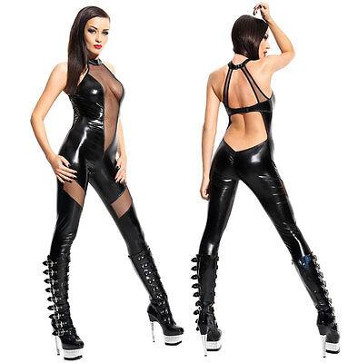 Black Catwoman Jumpsuit (Sexy Black Catwoman False Leather Wetlook Jumpsuit Catsuit Clubwear Fancy)