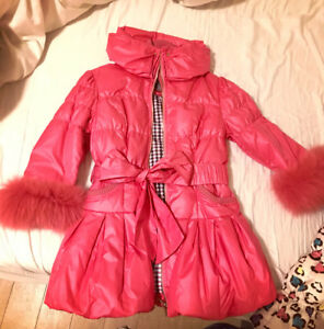 rose pink/hot pink down jacket with fox sleeve