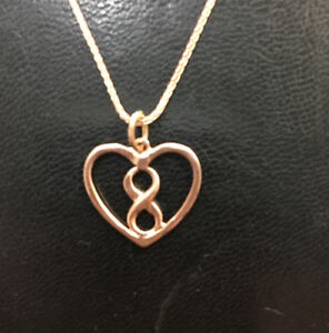 PINK GOLD INFINITY AND HEART NECKLACE