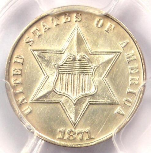1871 Three Cent Silver Coin 3CS - Certified PCGS AU Details - Rare Key Date!