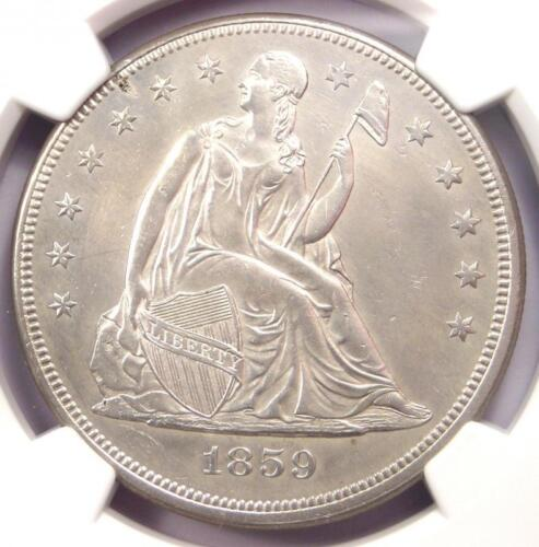 1859 Seated Liberty Silver Dollar $1 Coin - NGC Uncirculated Detail (UNC MS)!