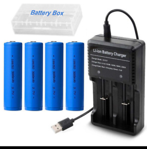 4pcs 18650 Batteries 3000mAh 3.7V Li-ion Rechargeable Battery