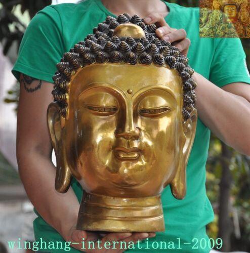 Tibetan Buddhism bronze Gilt Shakyamuni Shakya Mani Tathagata Buddha head statue