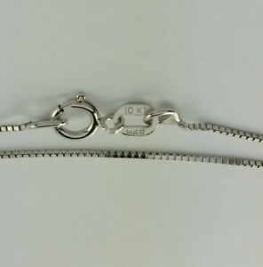 10K Solid White Gold Box chain necklace 16 inch