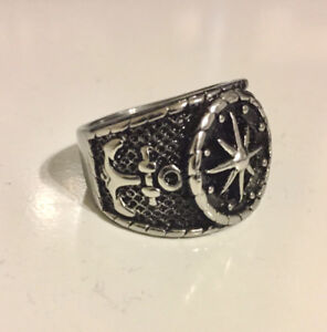 NEW: Solid Nautical Compass/Anchor Ring (Men's)