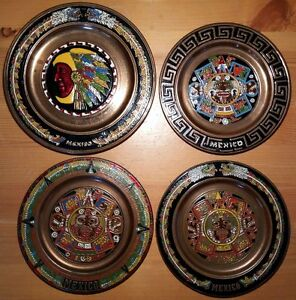 4 Vintage Brass & Enamel Mexican Wall Plates