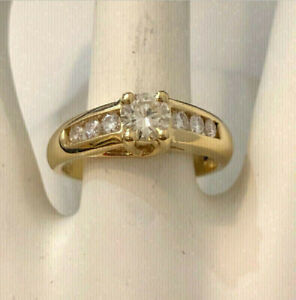 14k yellow gold diamond engagement ring / Certified at $5,800
