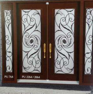 GLASS INSERTS FOR DOORS WROUGHT IRON AND STAINED GLASS