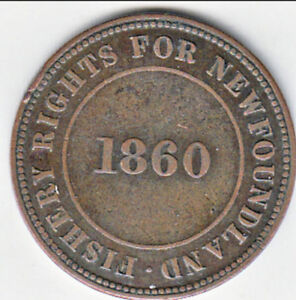 1860 FISHERY RIGHTS FOR NEWFOUNDLAND COLONIAL TOKEN