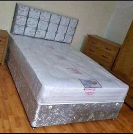 Double divan crshed velvet bed