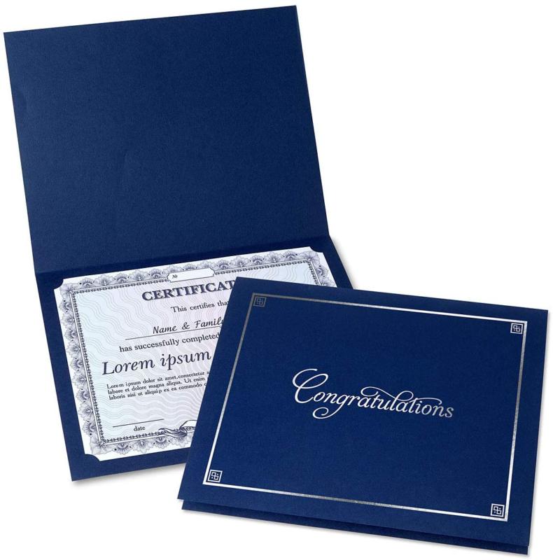 Congratulations Blue  Silver Certificate Folders - Pack of 2