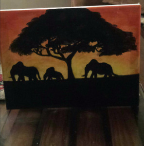 african sunset inspired painting