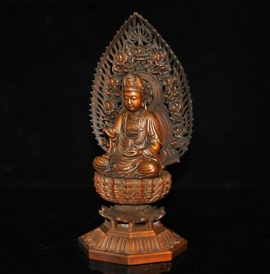 100/% Chinese Boxwood Carving Inner Carving*Bodhisattva Golden Child Jade*Box