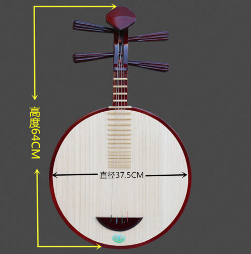 Chinese Moon Lute Banjo Musical Instrument YHardwooden ueqin-Chamagudao 月琴 #3728