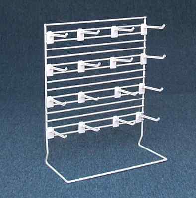 Counter Peg Display Rack - 16 Plastic Hook 4 Long White